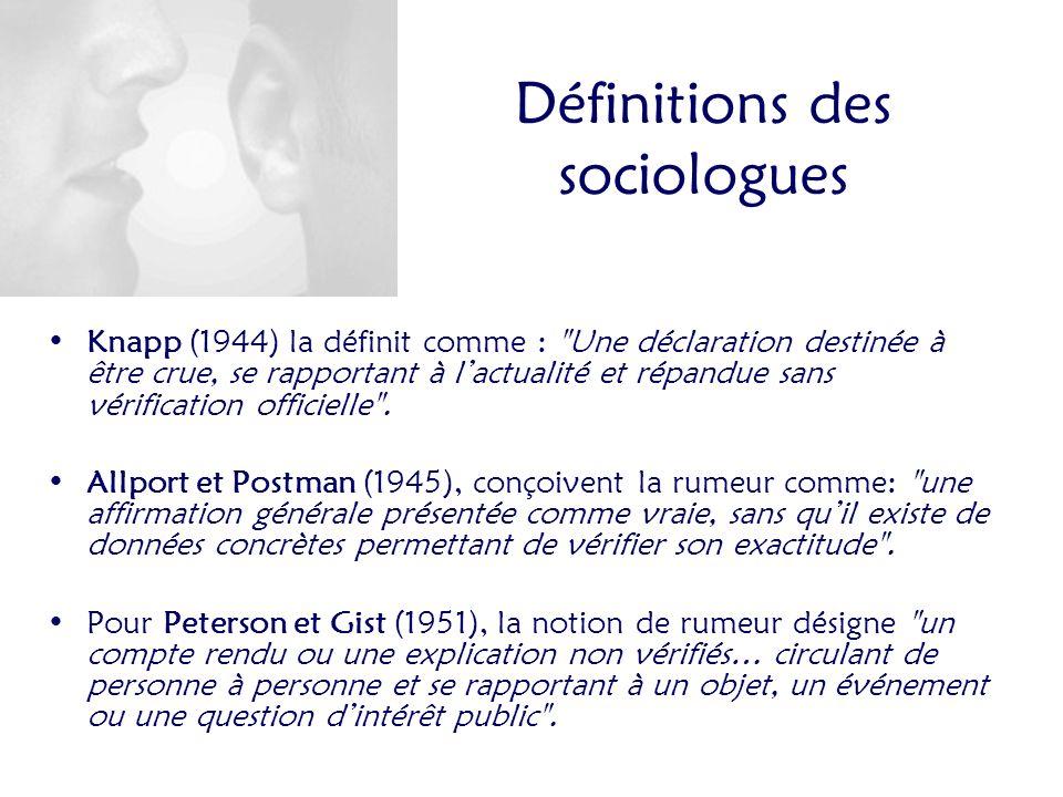 Définitions des sociologues Knapp (1944) la définit comme : Une déclaration destinée à être crue, se rapportant à lactualité et répandue sans vérification officielle .