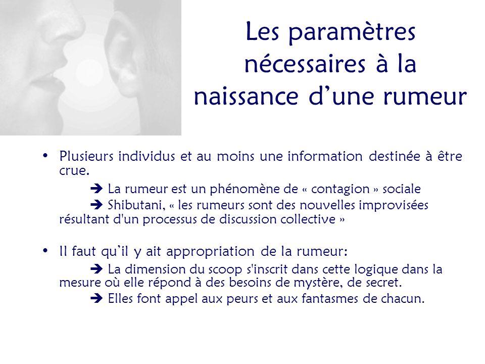 Les paramètres nécessaires à la naissance dune rumeur Plusieurs individus et au moins une information destinée à être crue.