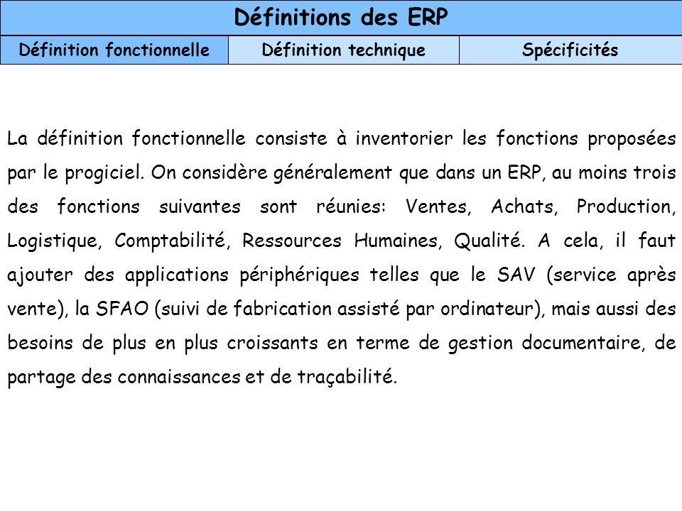 Définitions des ERP Définition fonctionnelleDéfinition techniqueSpécificités La définition fonctionnelle consiste à inventorier les fonctions proposée