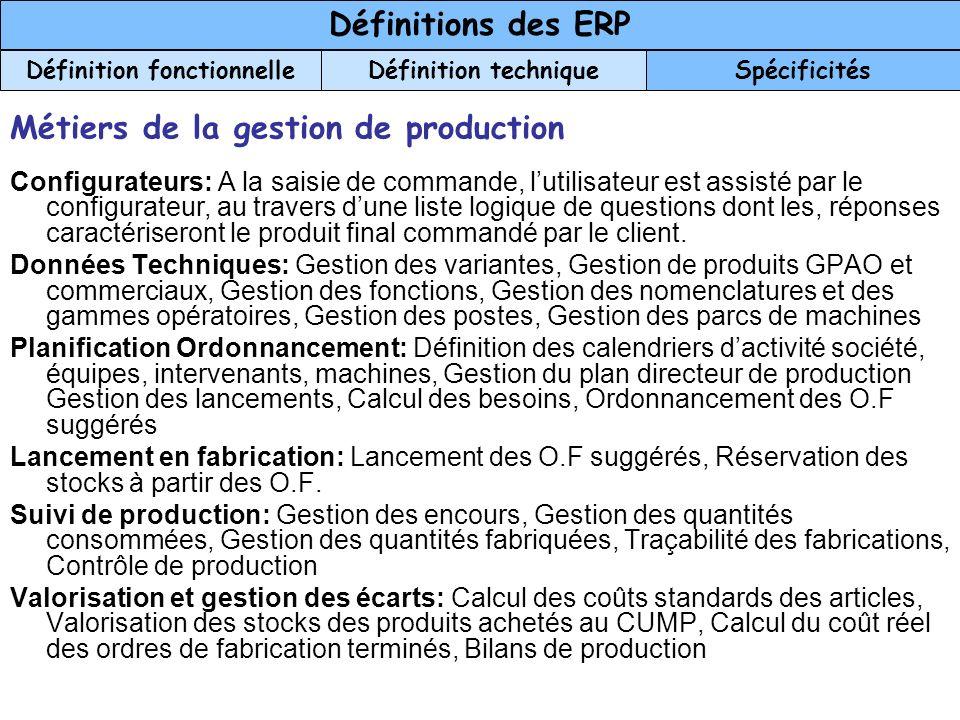 Métiers de la gestion de production Configurateurs: A la saisie de commande, lutilisateur est assisté par le configurateur, au travers dune liste logi