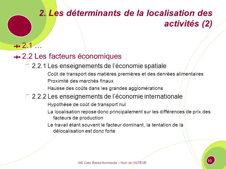 IAE Caen Basse-Normandie – Nom de lAUTEUR 10 2. Les déterminants de la localisation des activités (2) 2.1 … 2.2 Les facteurs économiques 2.2.1 Les ens