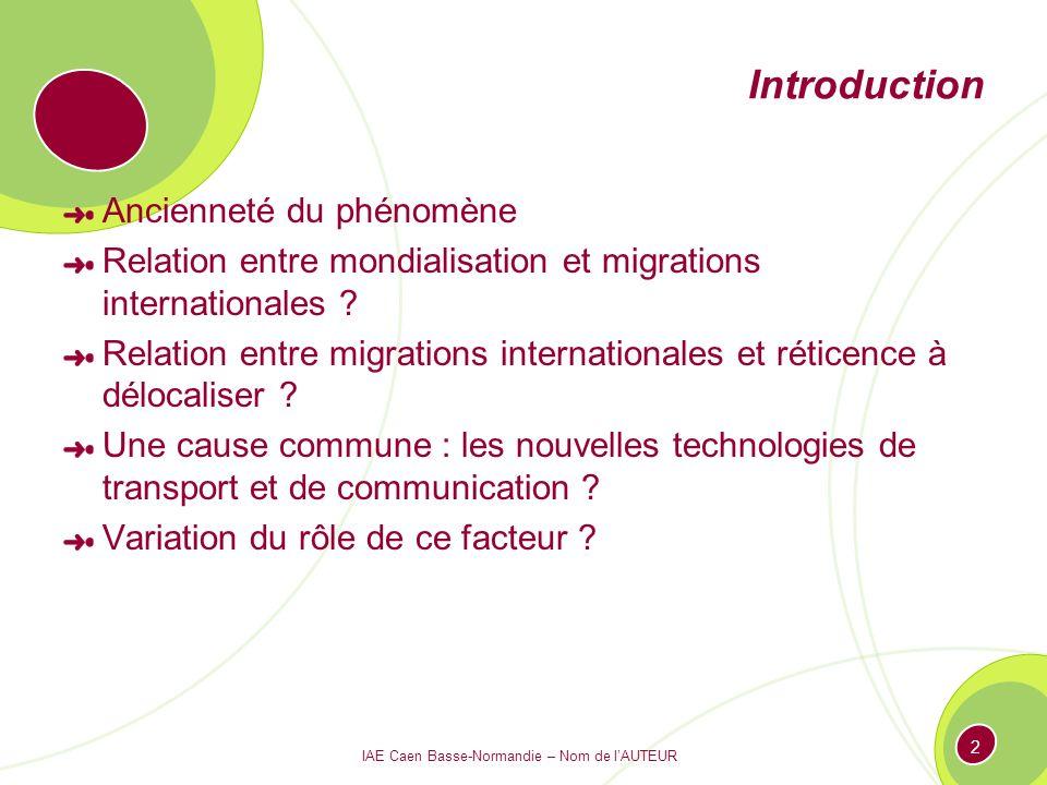 IAE Caen Basse-Normandie – Nom de lAUTEUR 2 Introduction Ancienneté du phénomène Relation entre mondialisation et migrations internationales ? Relatio