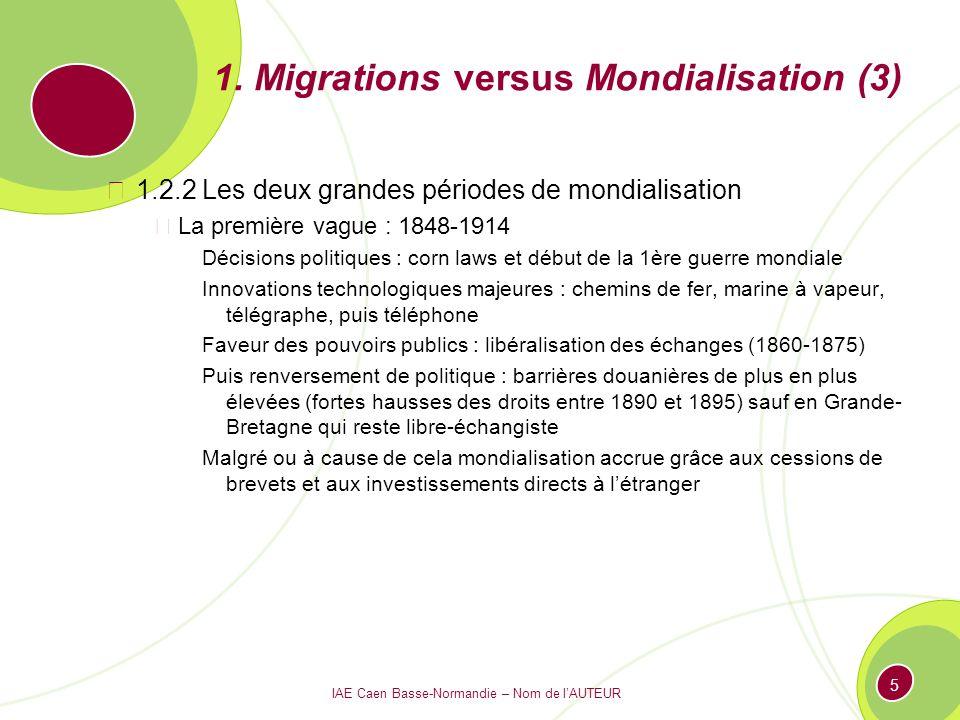 IAE Caen Basse-Normandie – Nom de lAUTEUR 5 1. Migrations versus Mondialisation (3) 1.2.2 Les deux grandes périodes de mondialisation La première vagu