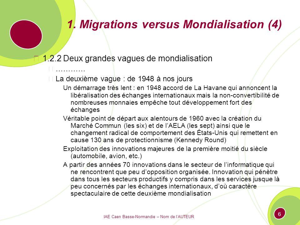 IAE Caen Basse-Normandie – Nom de lAUTEUR 6 1. Migrations versus Mondialisation (4) 1.2.2 Deux grandes vagues de mondialisation ………… La deuxième vague