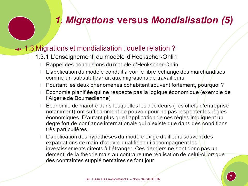IAE Caen Basse-Normandie – Nom de lAUTEUR 7 1. Migrations versus Mondialisation (5) 1.3 Migrations et mondialisation : quelle relation ? 1.3.1 Lenseig