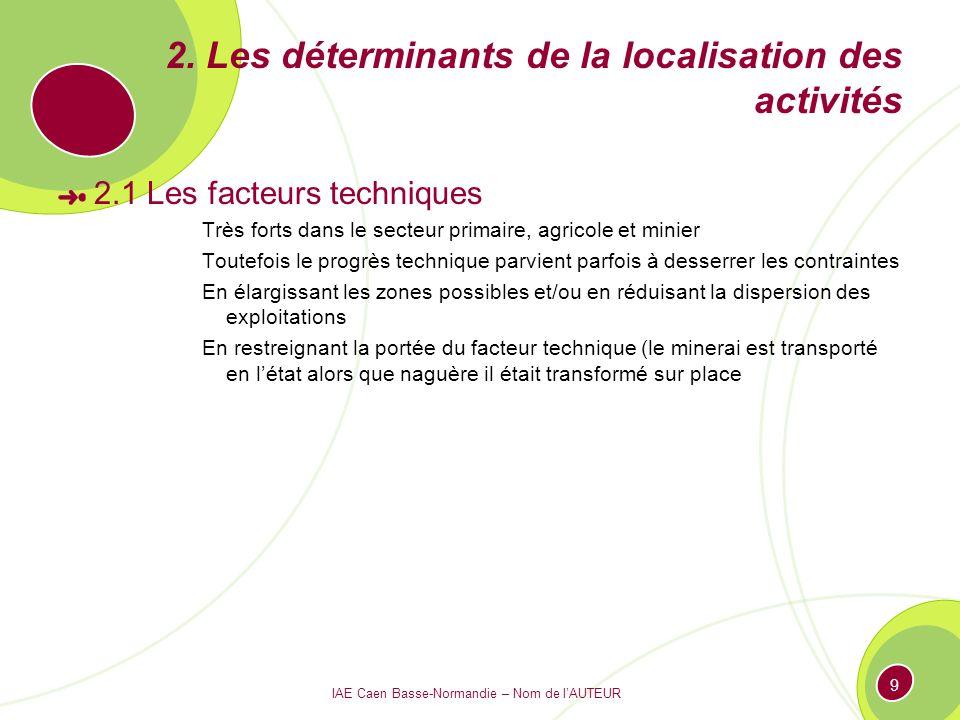 IAE Caen Basse-Normandie – Nom de lAUTEUR 9 2. Les déterminants de la localisation des activités 2.1 Les facteurs techniques Très forts dans le secteu