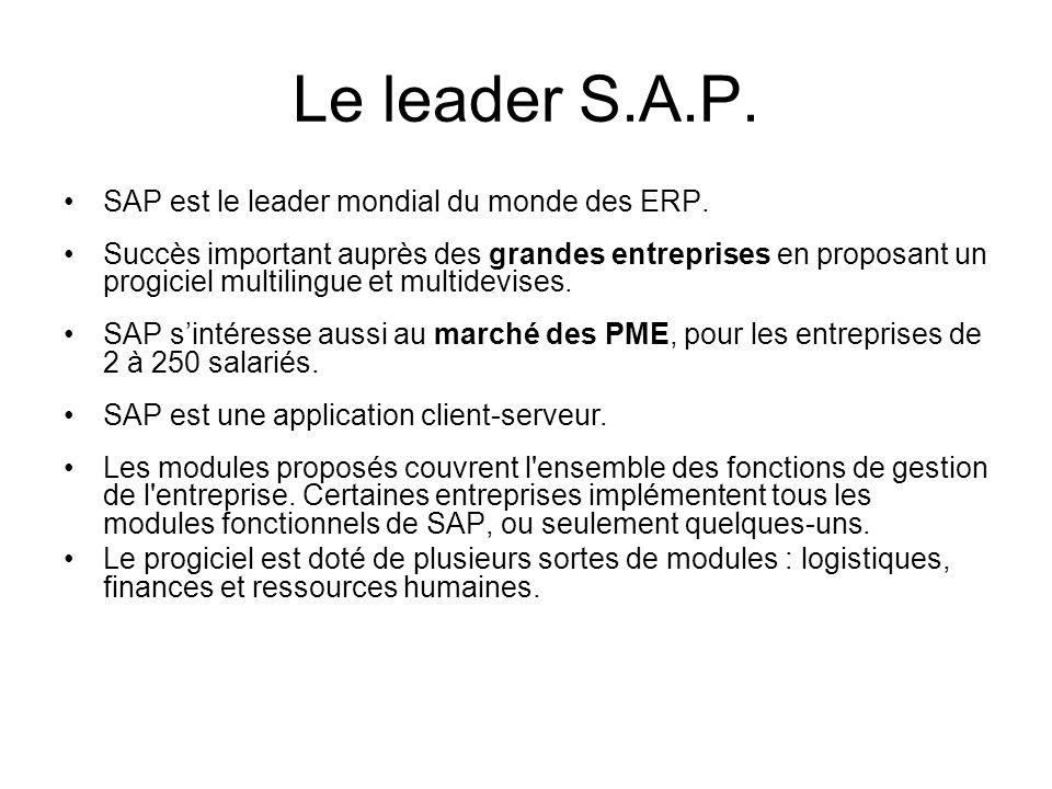 Le leader S.A.P. SAP est le leader mondial du monde des ERP. Succès important auprès des grandes entreprises en proposant un progiciel multilingue et