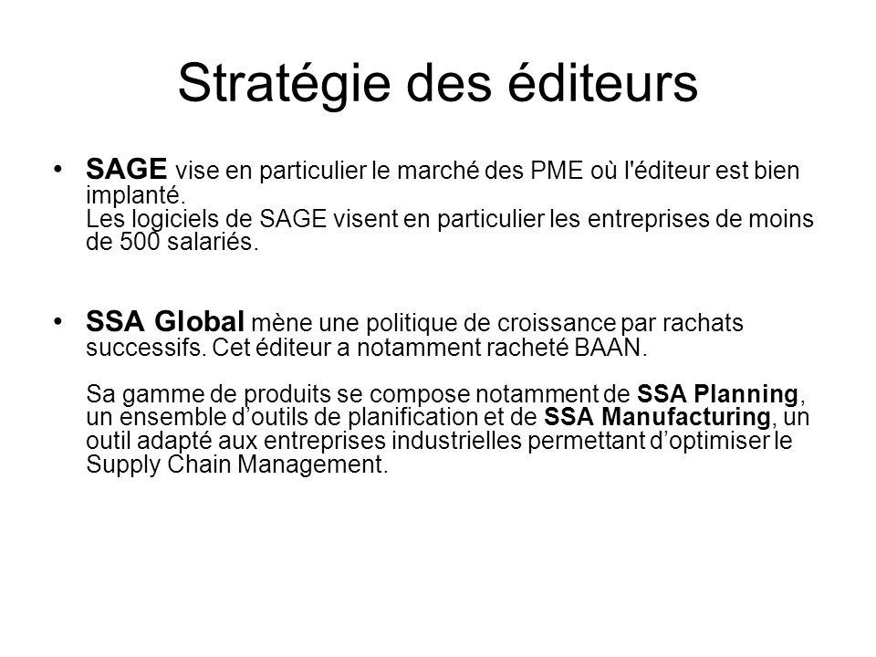 Stratégie des éditeurs SAGE vise en particulier le marché des PME où l'éditeur est bien implanté. Les logiciels de SAGE visent en particulier les entr