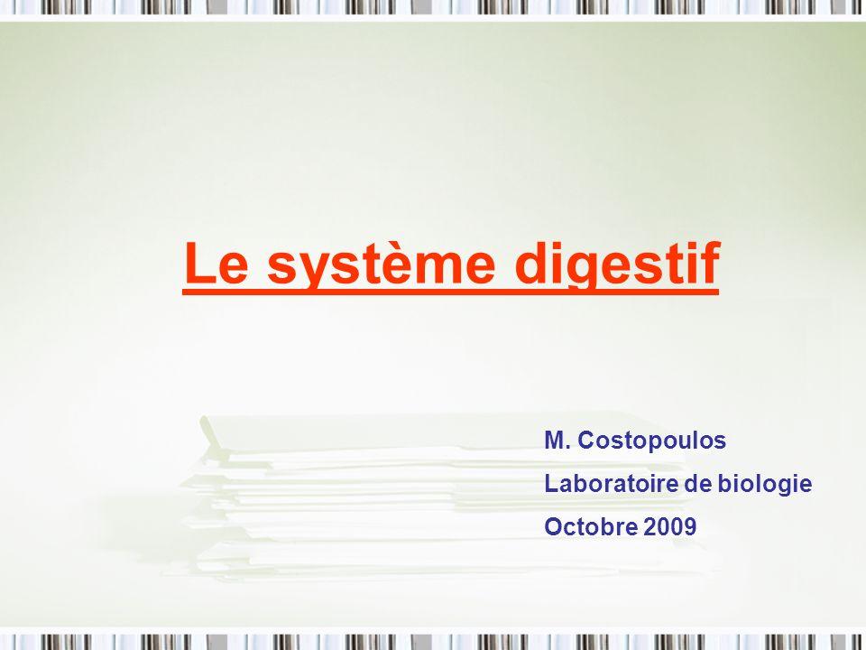 Le système digestif M. Costopoulos Laboratoire de biologie Octobre 2009