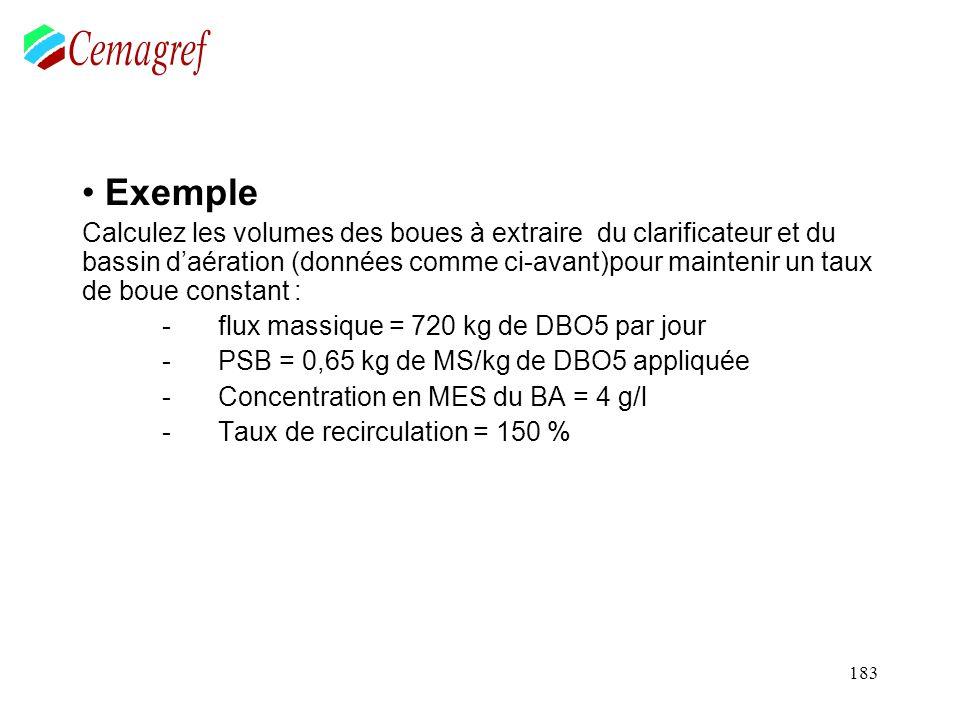 183 Exemple Calculez les volumes des boues à extraire du clarificateur et du bassin daération (données comme ci-avant)pour maintenir un taux de boue c