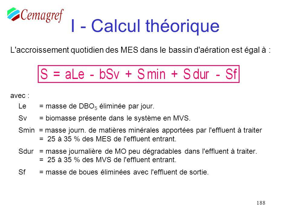 188 I - Calcul théorique L'accroissement quotidien des MES dans le bassin d'aération est égal à : avec : Le = masse de DBO 5 éliminée par jour. Sv = b