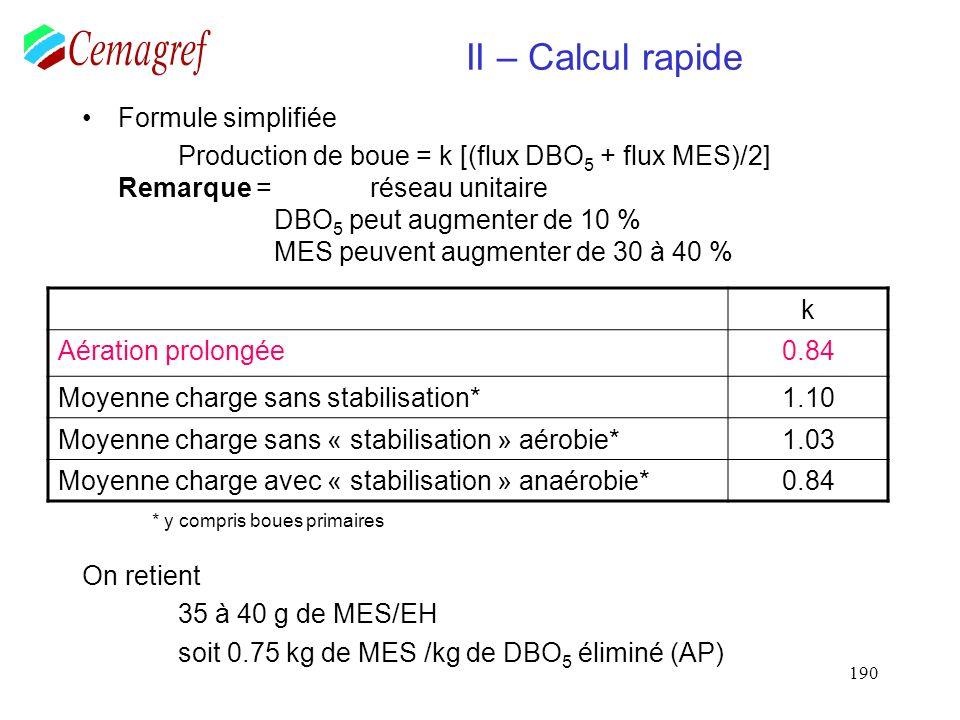 190 II – Calcul rapide Formule simplifiée Production de boue = k [(flux DBO 5 + flux MES)/2] Remarque = réseau unitaire DBO 5 peut augmenter de 10 % M