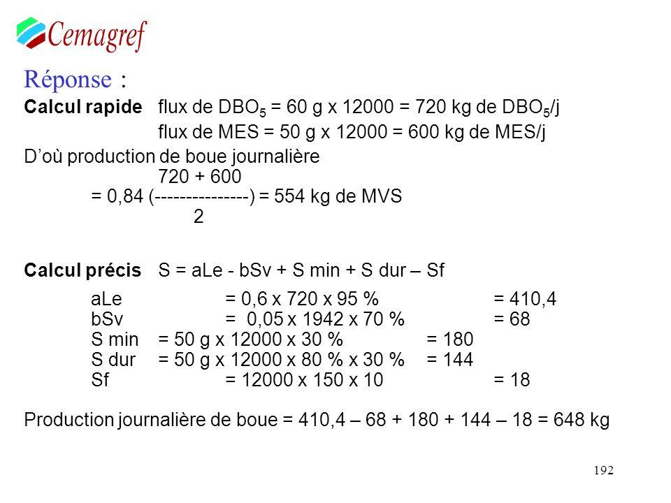 192 Réponse : Calcul rapide flux de DBO 5 = 60 g x 12000 = 720 kg de DBO 5 /j flux de MES = 50 g x 12000 = 600 kg de MES/j Doù production de boue jour