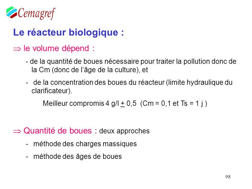 98 Le réacteur biologique : le volume dépend : - de la quantité de boues nécessaire pour traiter la pollution donc de la Cm (donc de lâge de la cultur