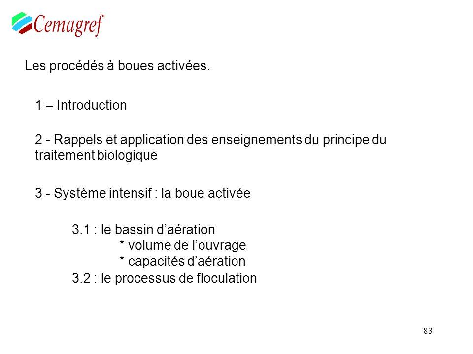 83 Les procédés à boues activées. 1 – Introduction 2 - Rappels et application des enseignements du principe du traitement biologique 3 - Système inten