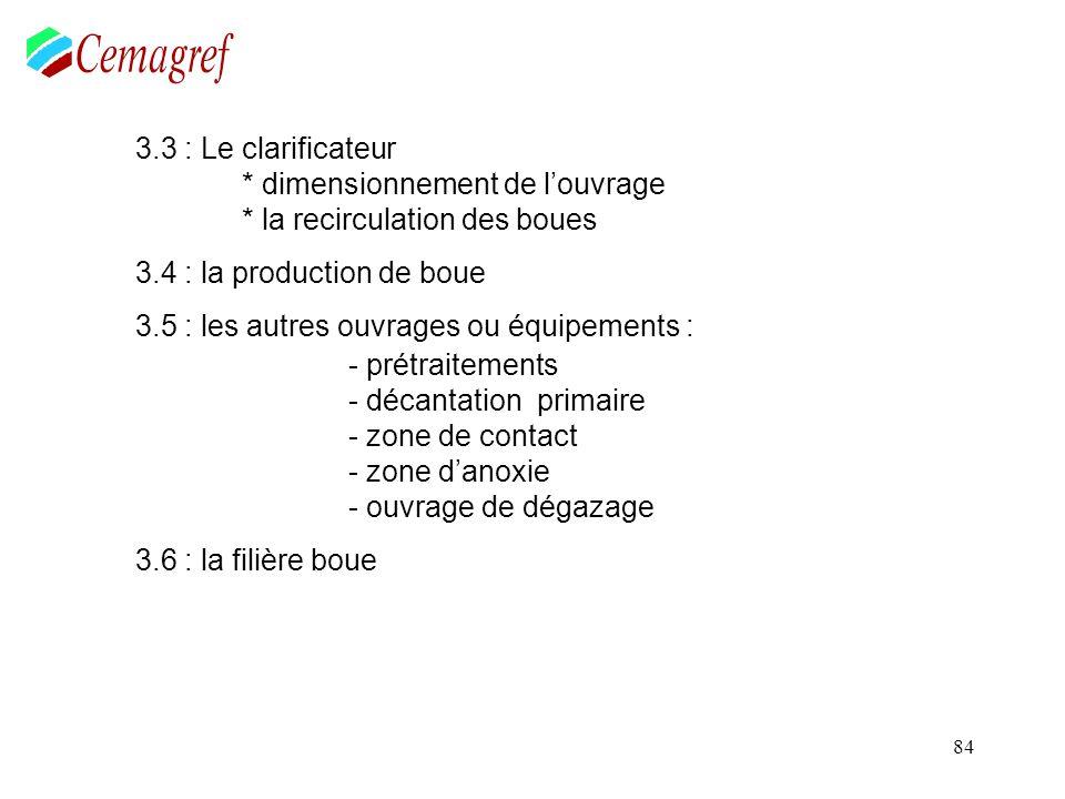 84 3.3 : Le clarificateur * dimensionnement de louvrage * la recirculation des boues 3.4 : la production de boue 3.5 : les autres ouvrages ou équipeme