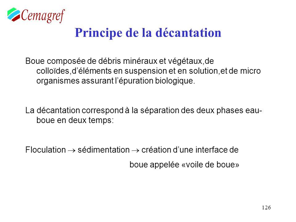 126 Principe de la décantation Boue composée de débris minéraux et végétaux,de colloïdes,déléments en suspension et en solution,et de micro organismes