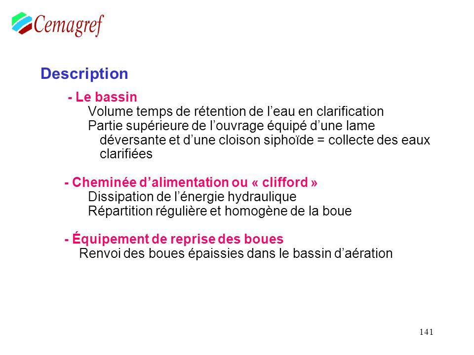 141 Description - Le bassin Volume temps de rétention de leau en clarification Partie supérieure de louvrage équipé dune lame déversante et dune clois
