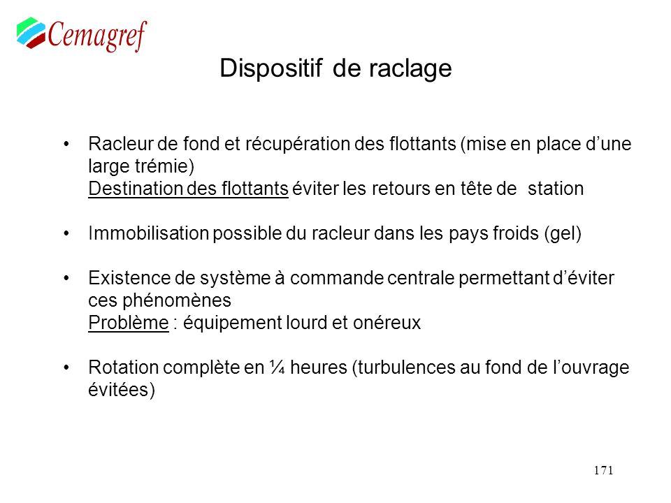 171 Dispositif de raclage Racleur de fond et récupération des flottants (mise en place dune large trémie) Destination des flottants éviter les retours