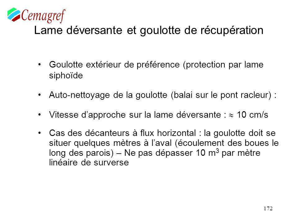 172 Lame déversante et goulotte de récupération Goulotte extérieur de préférence (protection par lame siphoïde Auto-nettoyage de la goulotte (balai su