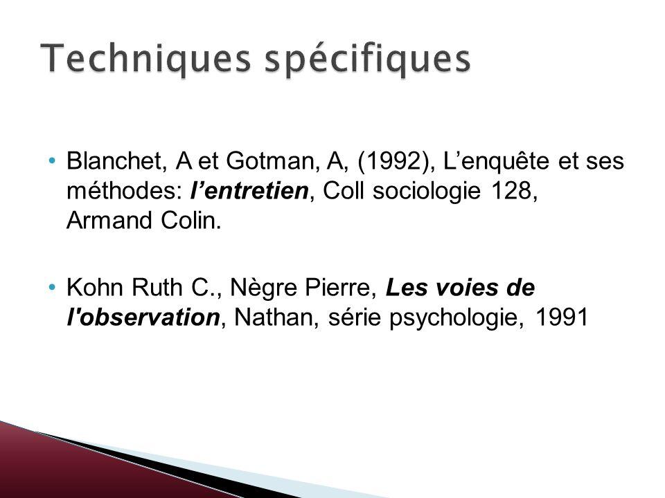 Blanchet, A et Gotman, A, (1992), Lenquête et ses méthodes: lentretien, Coll sociologie 128, Armand Colin. Kohn Ruth C., Nègre Pierre, Les voies de l'