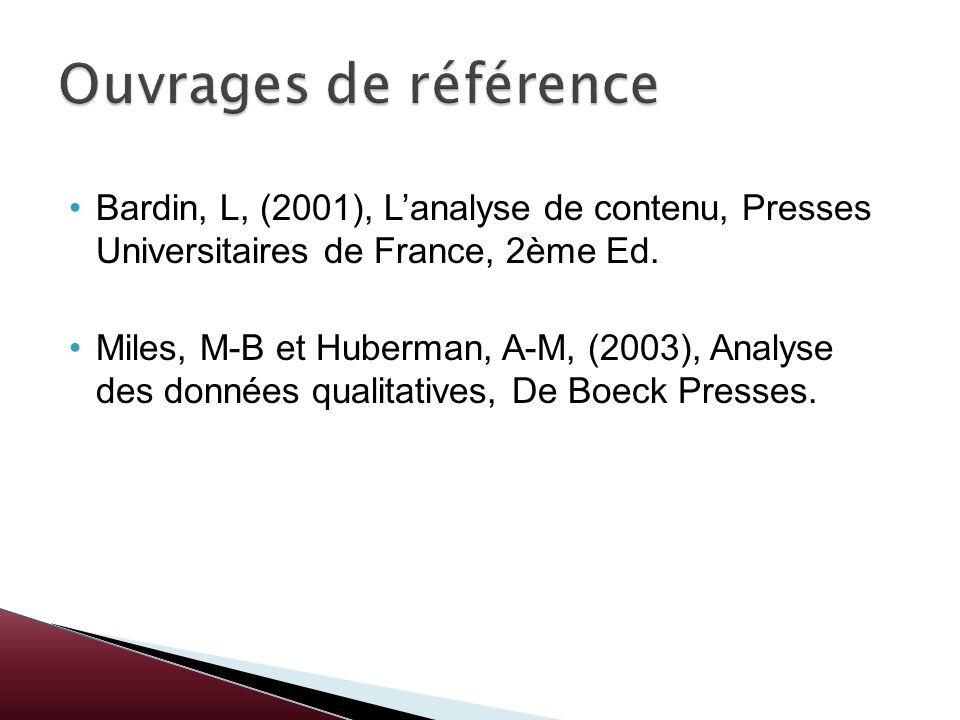Bardin, L, (2001), Lanalyse de contenu, Presses Universitaires de France, 2ème Ed. Miles, M-B et Huberman, A-M, (2003), Analyse des données qualitativ