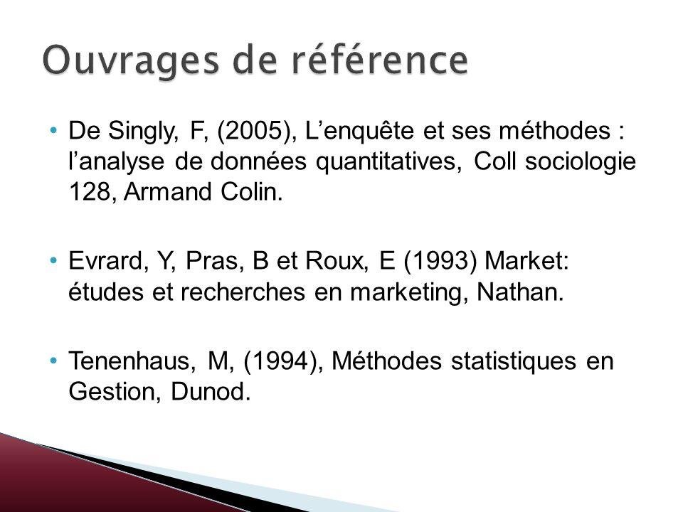 De Singly, F, (2005), Lenquête et ses méthodes : lanalyse de données quantitatives, Coll sociologie 128, Armand Colin. Evrard, Y, Pras, B et Roux, E (