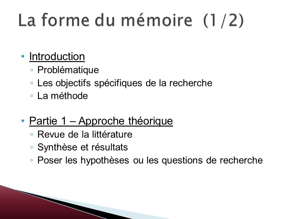 Introduction Problématique Les objectifs spécifiques de la recherche La méthode Partie 1 – Approche théorique Revue de la littérature Synthèse et résu