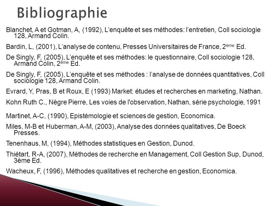 Blanchet, A et Gotman, A, (1992), Lenquête et ses méthodes: lentretien, Coll sociologie 128, Armand Colin. Bardin, L, (2001), Lanalyse de contenu, Pre
