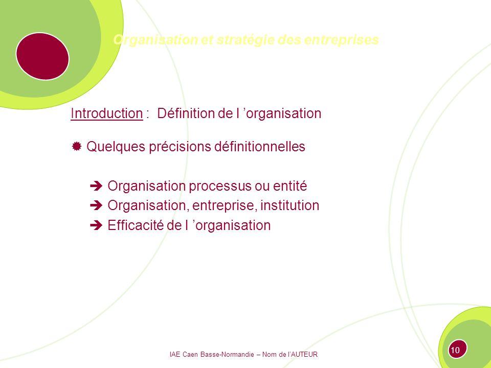 IAE Caen Basse-Normandie – Nom de lAUTEUR 9 Organisation et stratégie des entreprises Introduction : Définition de l organisation L approche de Gareth Morgan ORGANISATION Cerveau Culture Système politique Instrument de domination Flux
