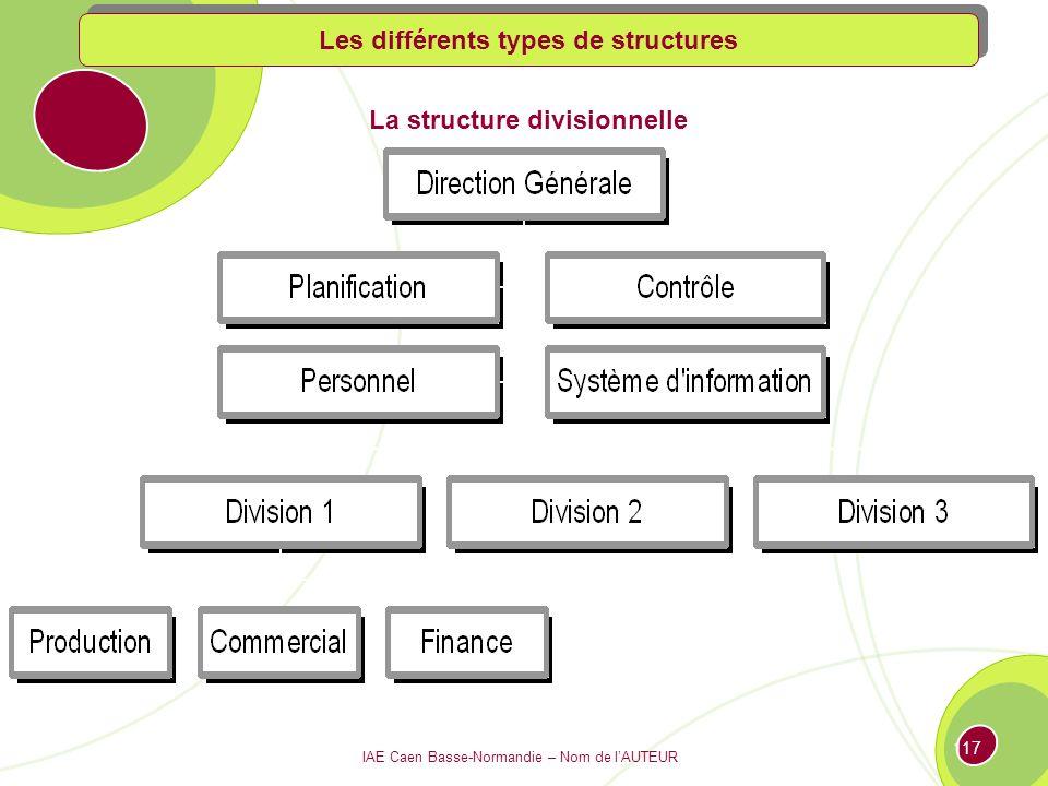 IAE Caen Basse-Normandie – Nom de lAUTEUR 116 La structure « staff and line » Les différents types de structures