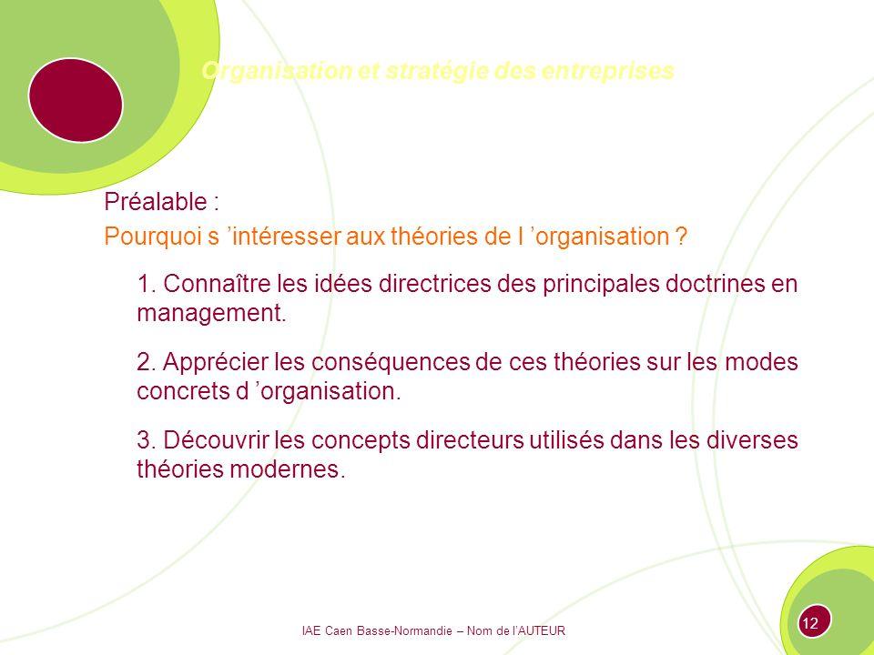 IAE Caen Basse-Normandie – Nom de lAUTEUR 11 Organisation et stratégie des entreprises 1°.