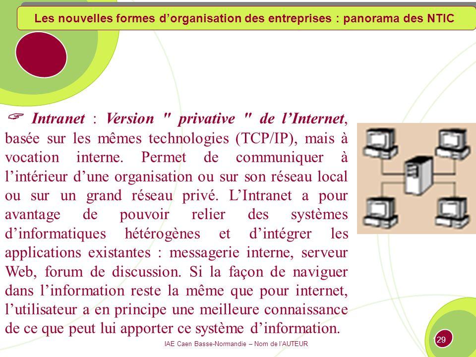 IAE Caen Basse-Normandie – Nom de lAUTEUR 128 Fonctionnement de lextranet Réseau IP Base de données Serveur WEB Fournisseur Partenaire Client Les nouvelles formes dorganisation des entreprises : panorama des NTIC