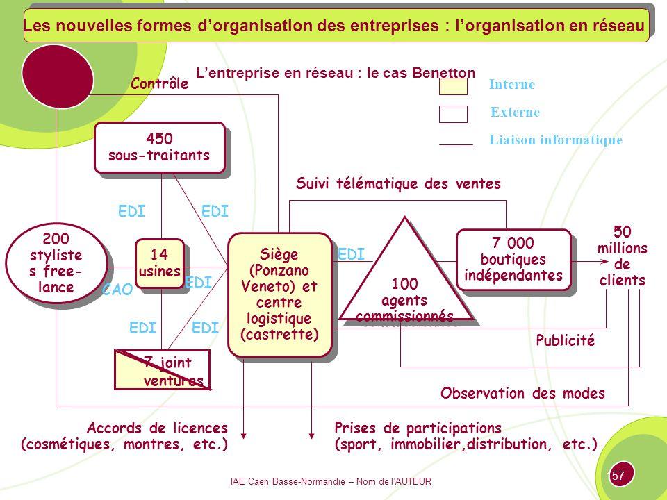 IAE Caen Basse-Normandie – Nom de lAUTEUR 156 Cœur de la société employés Tangible Intangible Alliances Partenariats Contrats Ponctuels Les nouvelles formes dorganisation des entreprises : lorganisation en réseau
