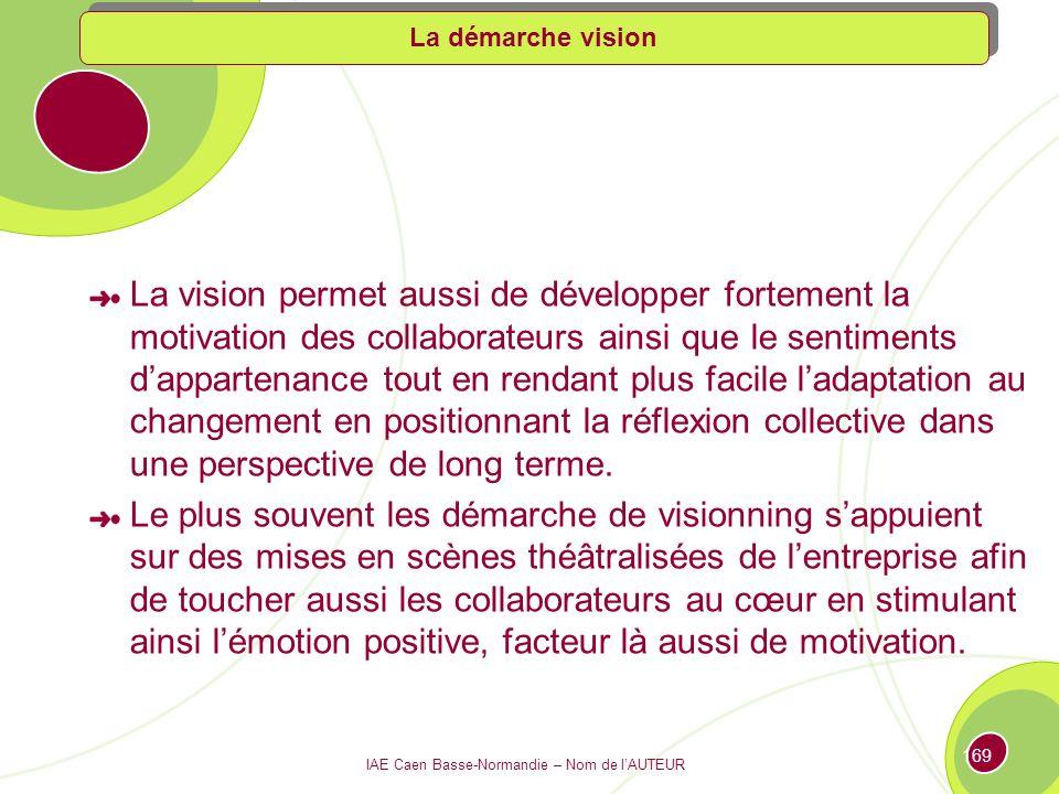 IAE Caen Basse-Normandie – Nom de lAUTEUR 168 Les démarches visions représente un outil de management très efficace, elles permettent ainsi dexprimer de manière crédible et motivante les ambitions de lentreprise, de mobiliser les énergies et de guider les efforts.