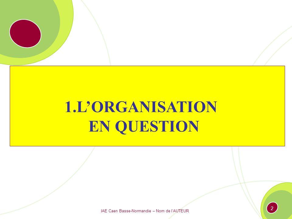 IAE Caen Basse-Normandie – Nom de lAUTEUR 2 1.LORGANISATION EN QUESTION
