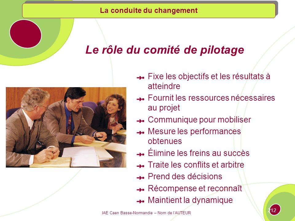 IAE Caen Basse-Normandie – Nom de lAUTEUR 211 Les étapes du changement : deux grands pôles ETAPE 2 ETAPE 1 Développer une vision et un plan daction Mettre en œuvre et obtenir les résultats La conduite du changement