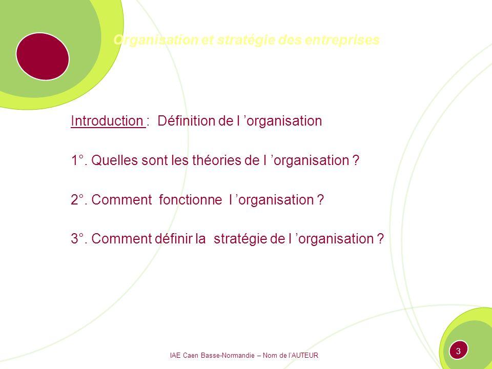 IAE Caen Basse-Normandie – Nom de lAUTEUR 93 Les 7 « S »: le recherche par lexcellence Valeurs partagées Stratégie Systèmes Hommes Savoir-faireStyle Structure
