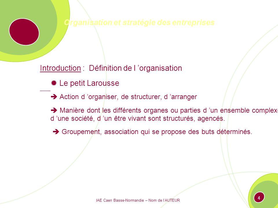 IAE Caen Basse-Normandie – Nom de lAUTEUR 3 Organisation et stratégie des entreprises Introduction : Définition de l organisation 1°.