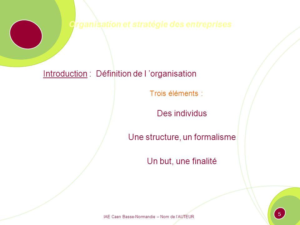 IAE Caen Basse-Normandie – Nom de lAUTEUR 4 Organisation et stratégie des entreprises Introduction : Définition de l organisation Le petit Larousse Action d organiser, de structurer, d arranger Manière dont les différents organes ou parties d un ensemble complexe, d une société, d un être vivant sont structurés, agencés.