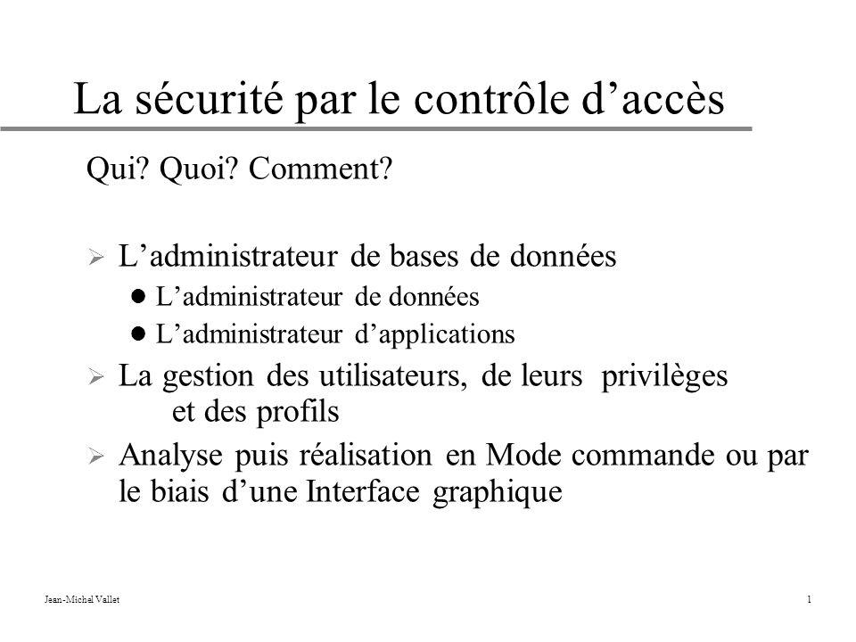 Jean-Michel Vallet1 La sécurité par le contrôle daccès Qui.