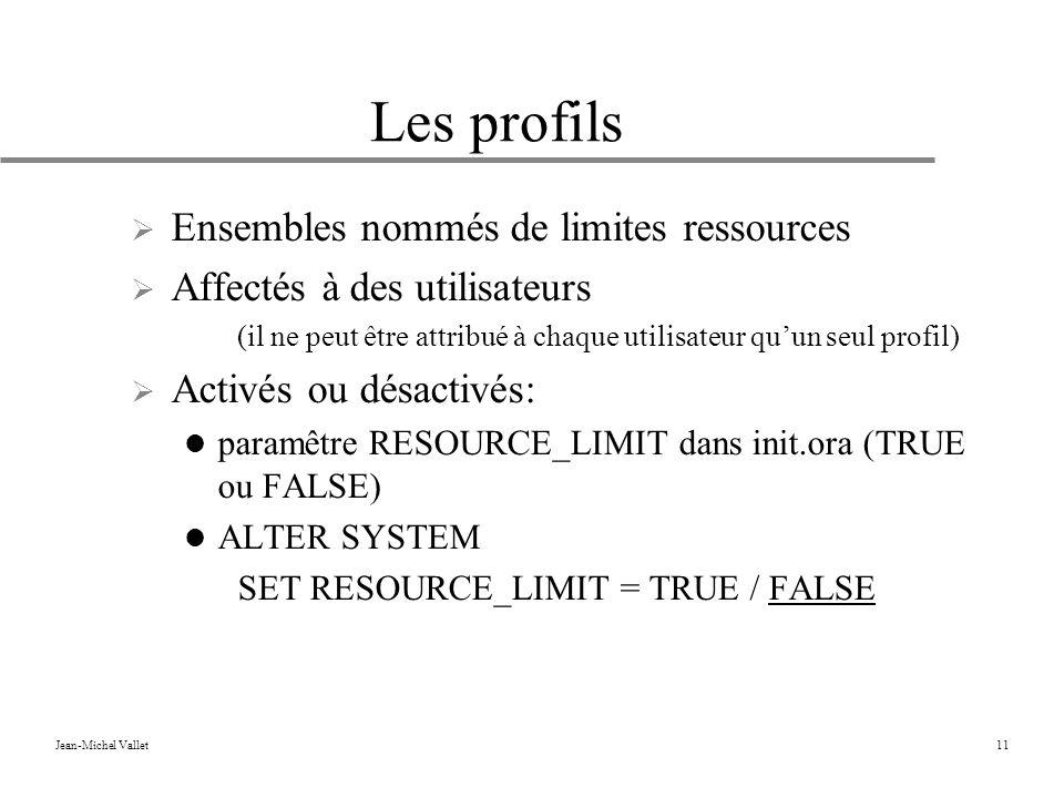 Jean-Michel Vallet11 Les profils Ensembles nommés de limites ressources Affectés à des utilisateurs (il ne peut être attribué à chaque utilisateur quun seul profil) Activés ou désactivés: paramêtre RESOURCE_LIMIT dans init.ora (TRUE ou FALSE) ALTER SYSTEM SET RESOURCE_LIMIT = TRUE / FALSE