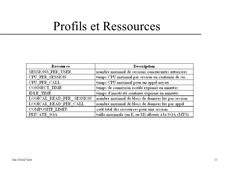 Jean-Michel Vallet13 Profils et Ressources