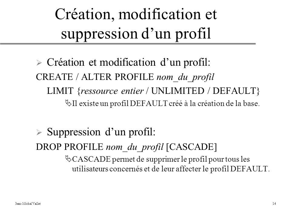 Jean-Michel Vallet14 Création, modification et suppression dun profil Création et modification dun profil: CREATE / ALTER PROFILE nom_du_profil LIMIT {ressource entier / UNLIMITED / DEFAULT} Il existe un profil DEFAULT créé à la création de la base.