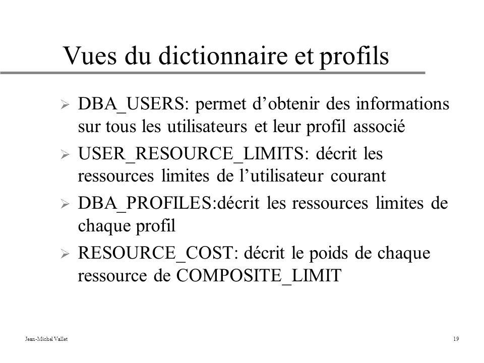 Jean-Michel Vallet19 Vues du dictionnaire et profils DBA_USERS: permet dobtenir des informations sur tous les utilisateurs et leur profil associé USER_RESOURCE_LIMITS: décrit les ressources limites de lutilisateur courant DBA_PROFILES:décrit les ressources limites de chaque profil RESOURCE_COST: décrit le poids de chaque ressource de COMPOSITE_LIMIT