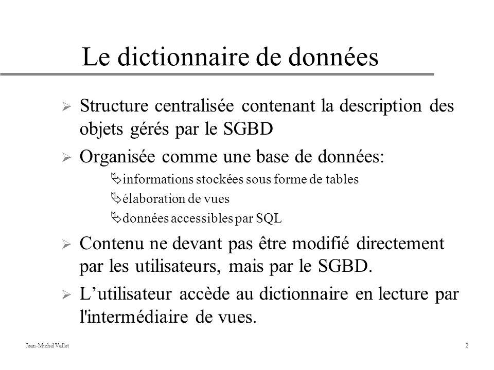 Jean-Michel Vallet2 Le dictionnaire de données Structure centralisée contenant la description des objets gérés par le SGBD Organisée comme une base de données: informations stockées sous forme de tables élaboration de vues données accessibles par SQL Contenu ne devant pas être modifié directement par les utilisateurs, mais par le SGBD.