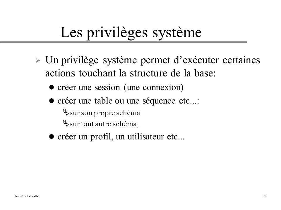 Jean-Michel Vallet20 Les privilèges système Un privilège système permet dexécuter certaines actions touchant la structure de la base: créer une session (une connexion) créer une table ou une séquence etc...: sur son propre schéma sur tout autre schéma, créer un profil, un utilisateur etc...