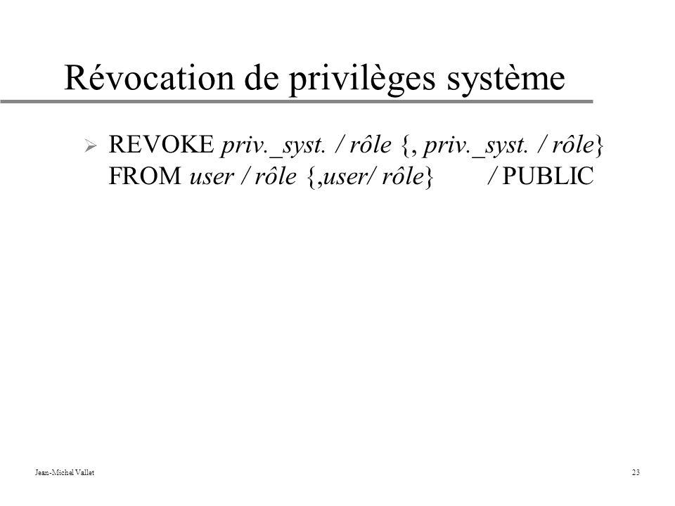 Jean-Michel Vallet23 Révocation de privilèges système REVOKE priv._syst.