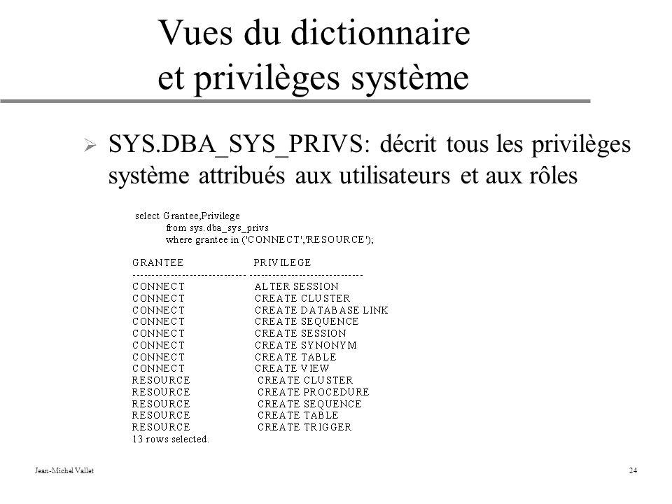 Jean-Michel Vallet24 Vues du dictionnaire et privilèges système SYS.DBA_SYS_PRIVS: décrit tous les privilèges système attribués aux utilisateurs et aux rôles