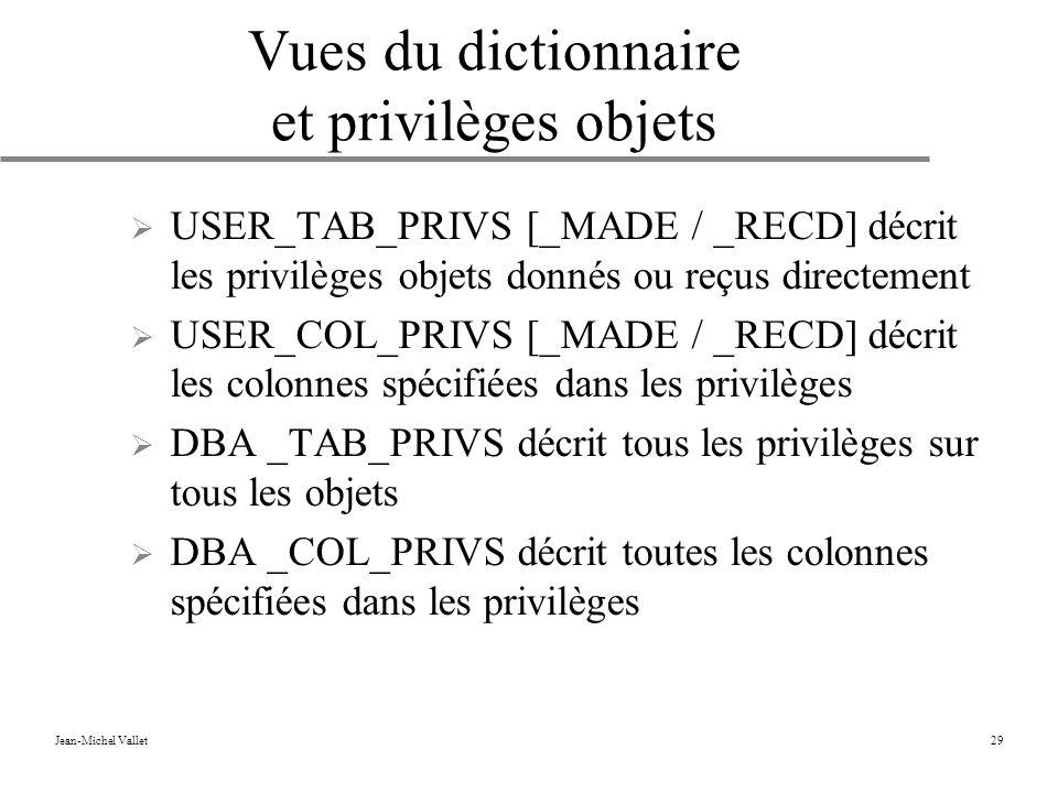 Jean-Michel Vallet29 Vues du dictionnaire et privilèges objets USER_TAB_PRIVS [_MADE / _RECD] décrit les privilèges objets donnés ou reçus directement USER_COL_PRIVS [_MADE / _RECD] décrit les colonnes spécifiées dans les privilèges DBA _TAB_PRIVS décrit tous les privilèges sur tous les objets DBA _COL_PRIVS décrit toutes les colonnes spécifiées dans les privilèges